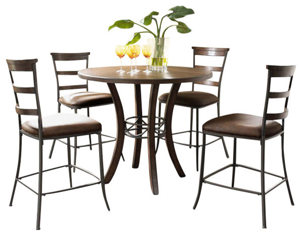 round wood dining set 5 piece transitional indoor pub and bistro sets