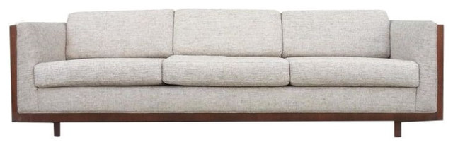 Mid Century Wood Encased Floating Sofa   $4,500 Est. Retail   $2,750 On  Chairish