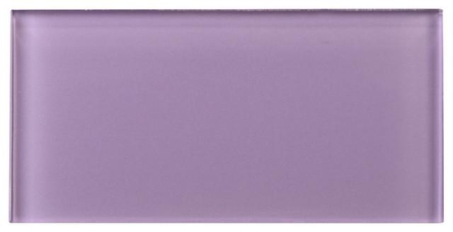 "3""x6"" Purple Glass Subway Tile, Set Of 8."