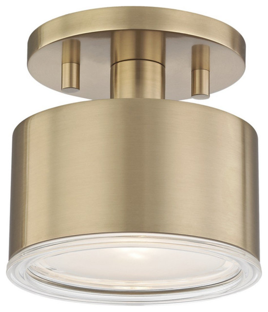 Nora 1 Light Flush Mount In Aged Brass Contemporary