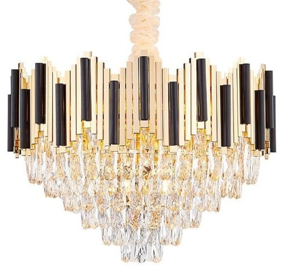 Gold Plated Stainless Steel Finest K9 Crystal Modern Ceiling Chandelier