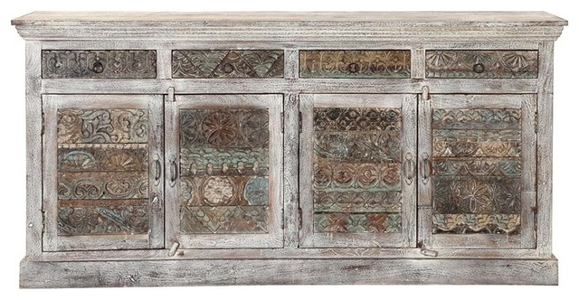 Delmonte Rustic Reclaimed Wood 4 Drawer Large Sideboard Cabinet by Sierra Living Concepts
