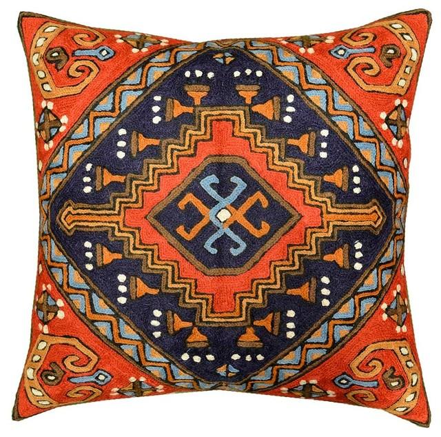 kashmir designs navajo tribal kilim aztec pillow red navy hand embroidered wool 18u2033x18