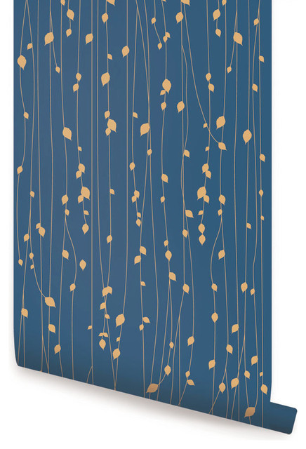 """Leaves Wallpaper, Peel and Stick, Navy, 24""""x108"""""""