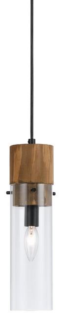 Cal Lighting Spehroid Spheroid Glass Pendant, Dark Bronze/wood.