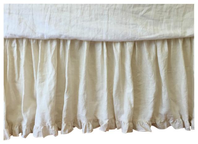 Linen Bed Skirt King.Cream Bedskirt With Ruffle Hem Natural Linen Dust Ruffle Full 24 Drop
