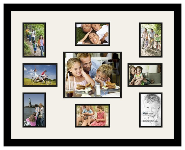 Arttoframes Collage Photo Frame With 9 Openings And Satin Black