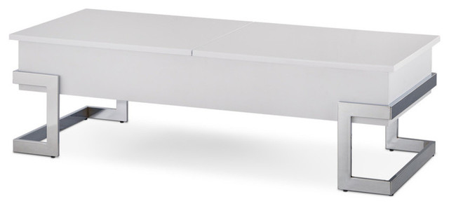 Acme Calnan Lift Top Coffee Table, White And Chrome.