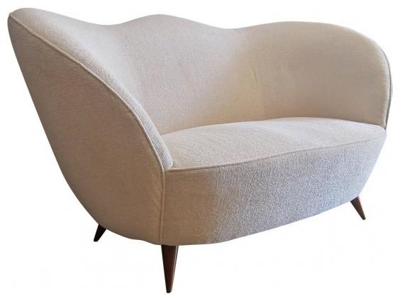 1950s Styke Italian Design Curved Sofa Midcentury