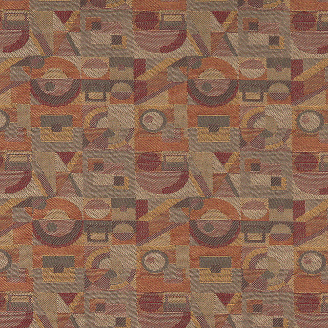 Gold Burgundy Orange Abstract Geometric Durable Upholstery Fabric By