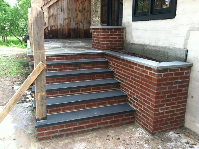 Doylestown Raised Patio And Brick Planters Farmhouse