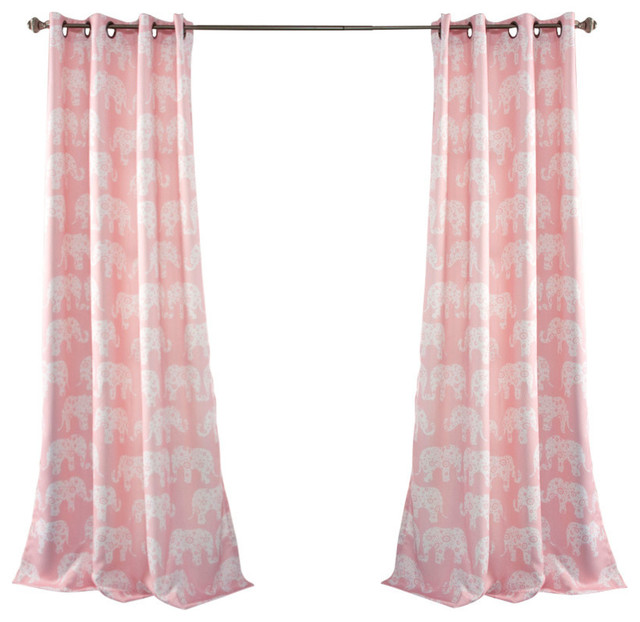 Half Moon Elephant Parade Window Curtain Set View In