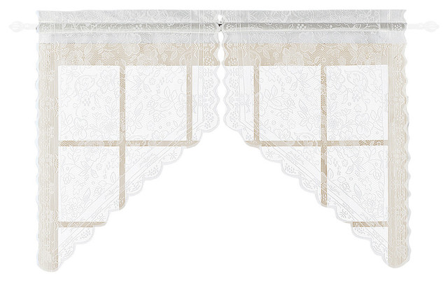 "United Curtain Co. Windsor 56""x38"" Pair Of Kitchen Swags, White."
