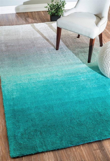 """Nuloom Ombre Area Rug, Turquoise, 2&x27;6""""x8&x27;."""