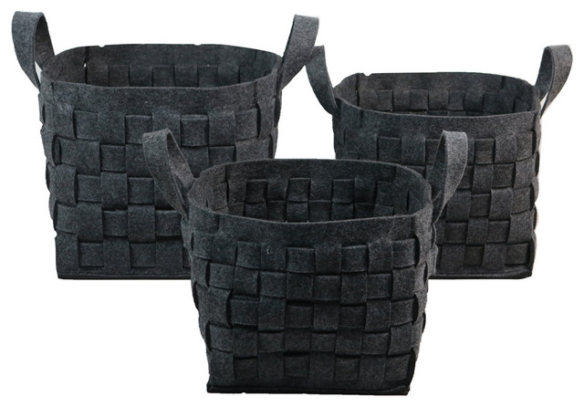 Wald Imports Gray Woven Wool Decorative Storage Basket/Caddy, Set Of 3  Farmhouse