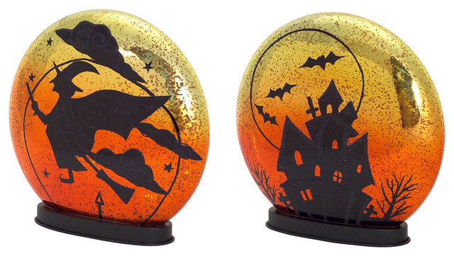 Dia de Los Muertos Collection LED Witch/ Haunted House Discs, 2-Piece ...