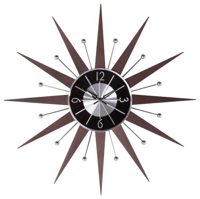 wooden starburst clock wood