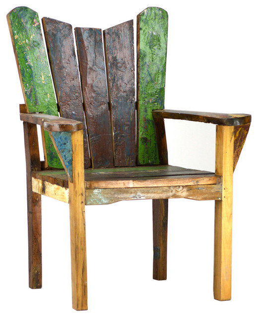 Reclaimed Boat Wood Chair Beach Style Outdoor Lounge