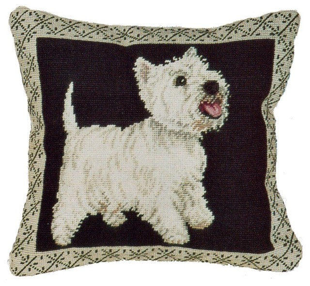West Highland Terrier Petit Point Pillow Traditional  : traditional decorative pillows from www.houzz.com size 640 x 590 jpeg 118kB