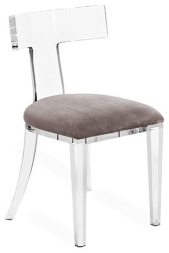 Kathy Kuo Home Upton Modern Classic Grey Velvet Acrylic Dining Chair Dining