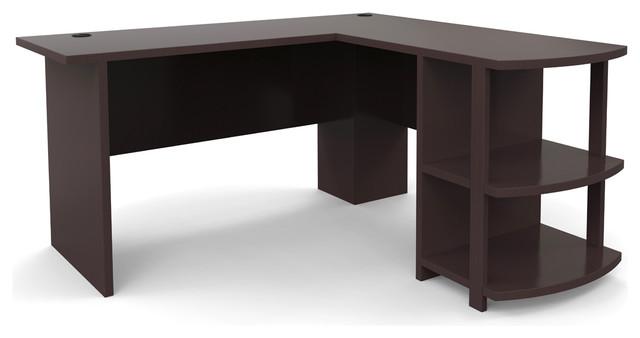 Ryan Rove Kristen Corner L-Shaped Computer Desk, Dark Russet Cherry.