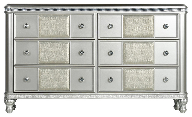 Steve Silver Midtown Dresser, Chrome Finish.
