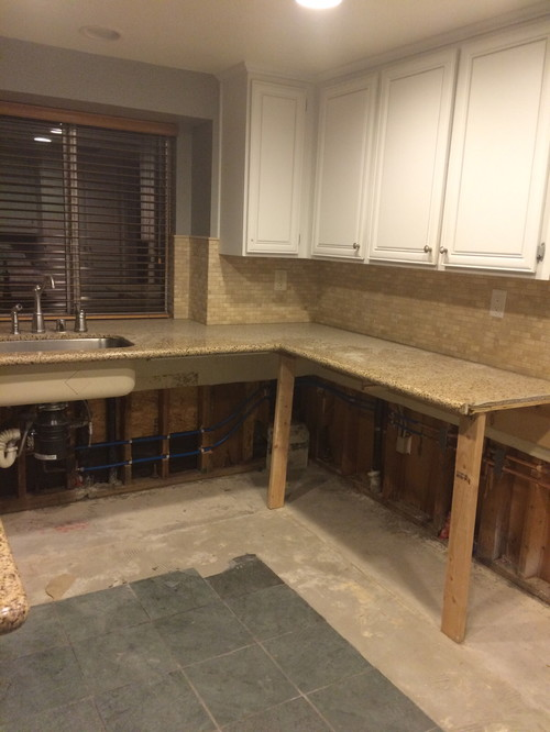 how to remove kitchen cabinets without damaging tile floor - kitchen