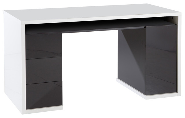 Mordano Wide Desk, High-Gloss Grey and White