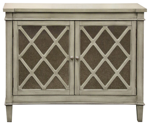 Belmont, 2 Door Mirrored Front Console, Grey Finish