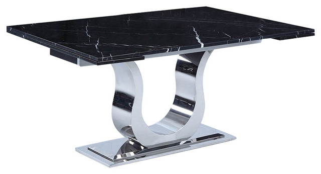 Chintaly Nadia Marble Top Extension Dining Table Black Shiny Stainless Steel Contemporary