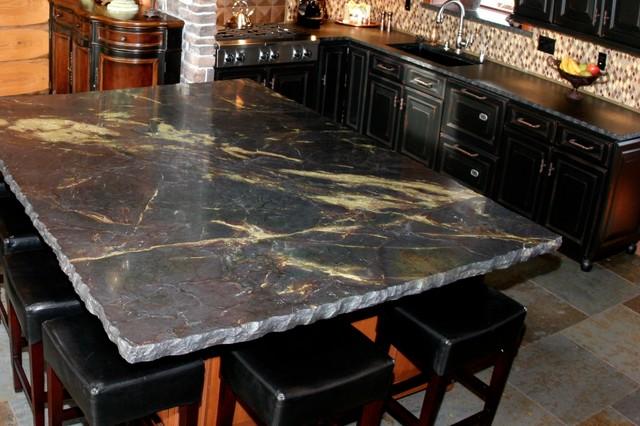 Large Granite Chiseled Edge Island Rustic Kitchen