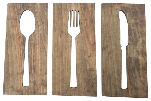 Fork Spoon And Knife Wooden Wall Decor 12 X17 Contemporary Novelty