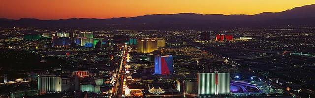 Illuminated Las Vegas Panorama Wall Mural Self Adhesive Wallpaper