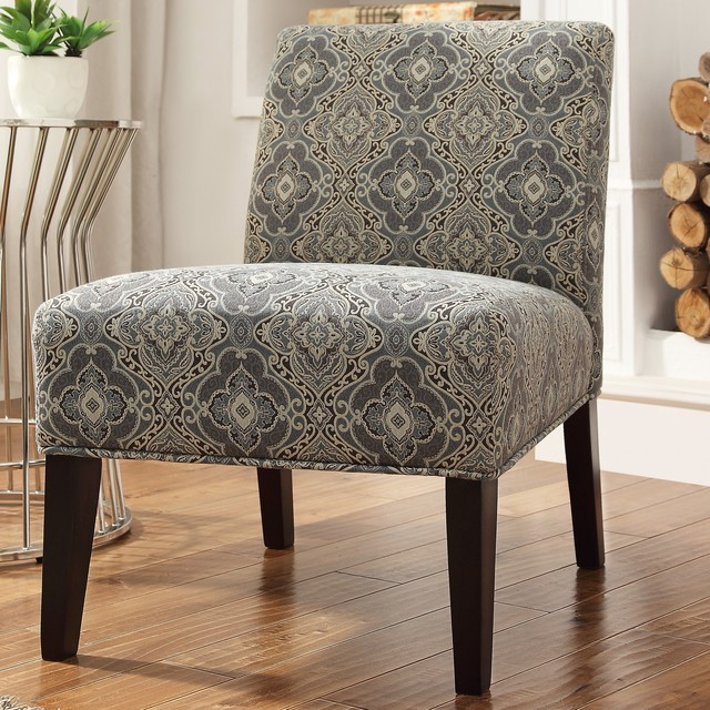 shop houzz inspire q inspire q peterson blue damask slipper chair living room chairs. Black Bedroom Furniture Sets. Home Design Ideas
