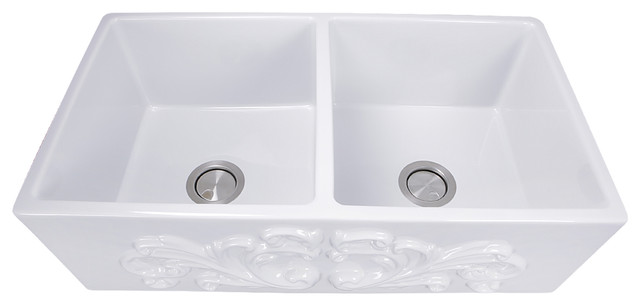 Charmant Nantucket Sinks Double Bowl Farmhouse Fireclay Sink With Filigree Apron