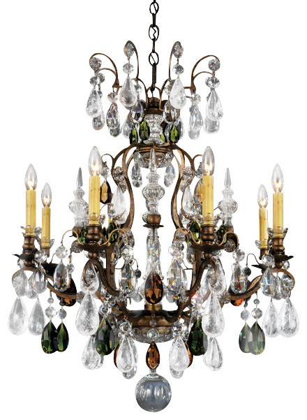Schonbek Lighting 3571 76OS Renaissance Rock Crystal Bronze 9 Light Chandelier Victorian Chandeliers