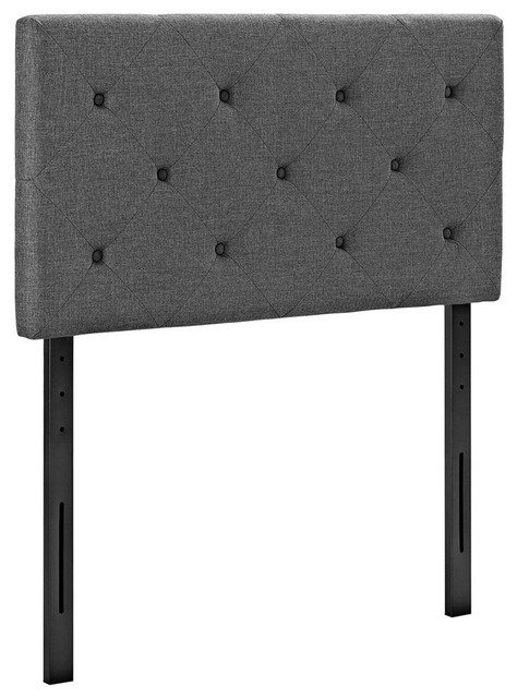 Terisa Twin Upholstered Fabric Headboard, Gray.