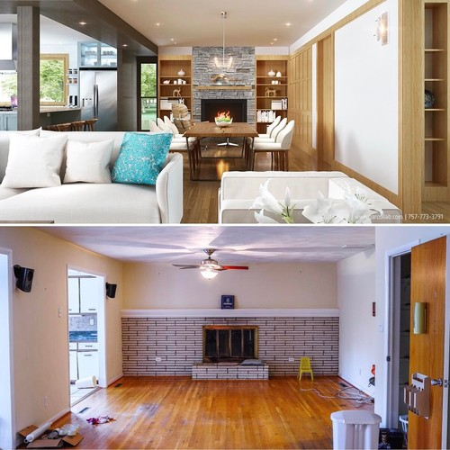 After And Before Of A Ranch House Interior