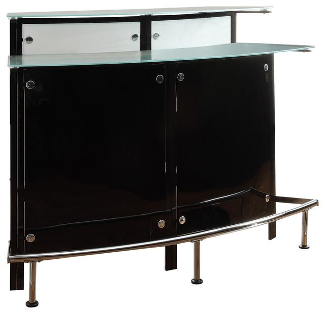 Attractive Coaster Bar Table, Chrome/Black Finish 100139 Contemporary Wine And Bar