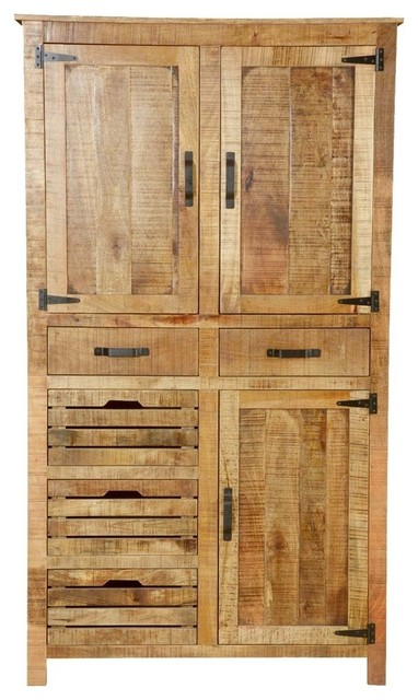 Avon Pioneer Rustic Solid Wood Tall Cabinet Armoire With 5 Drawers