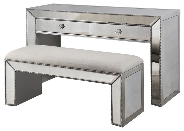 Vanity Console Table With Bench Silver
