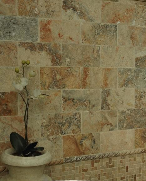 Elegant Mexican Bathroom Travertine Tile Tropical