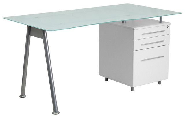 Glass Computer Desk With Mahogany 3-Drawer Pedestal ...