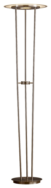 """Artiva USA Luciano LED 40W Torchiere Floor Lamp Touch Dimmer, 72"""", Satin Nickel"""