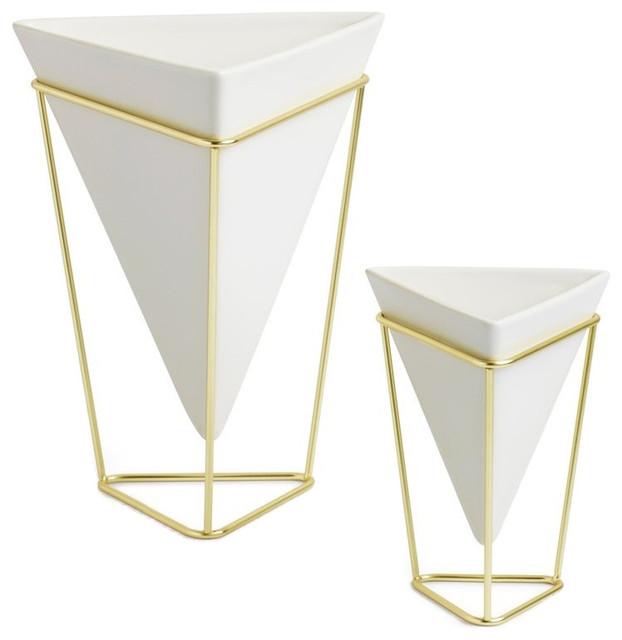 2 Piece Umbra Trigg Desktop Planter Vase And Geometric