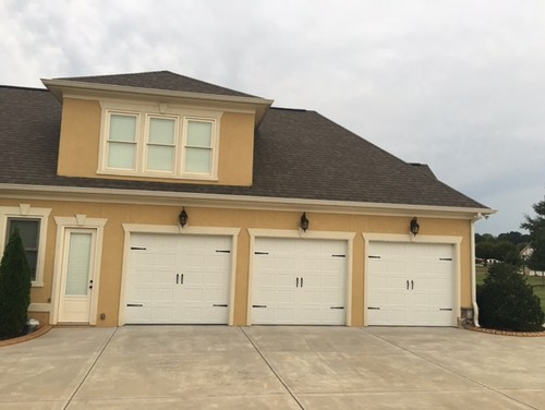 Help with stucco garage door colors for Stucco garage