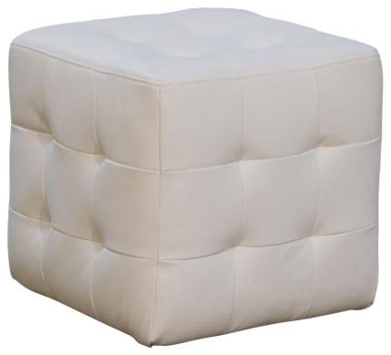 Diamond Sofa Zen Collection Bonded Leather Tufted Cube Accent Ottoman White