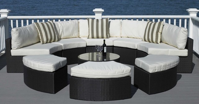 Round Outdoor Wicker Sectional Couch Set Contemporary Deck
