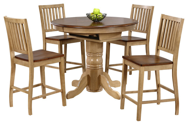 Beau 5 Piece Brook Round Or Oval Butterfly Leaf Pub Table Set   Farmhouse    Indoor Pub And Bistro Sets   By Sunset Trading