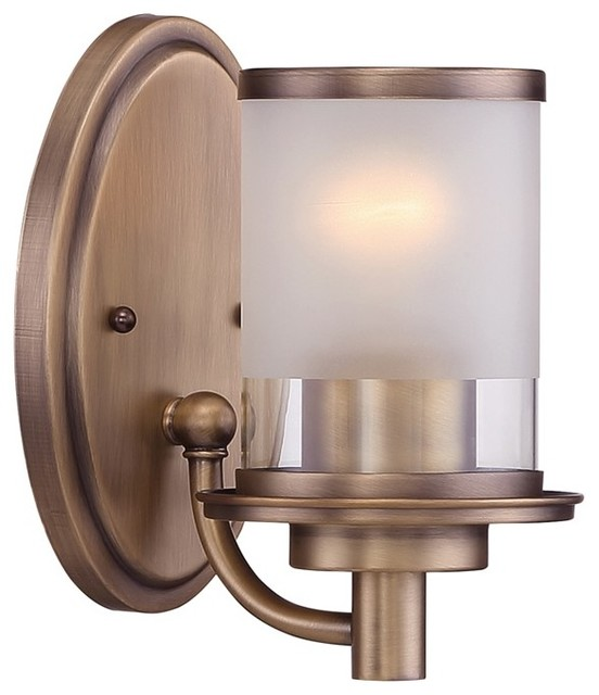 Wall Sconces Transitional : Designers Fountain Essense 1 Light Wall Sconce, Old Satin Brass - Transitional - Wall Sconces ...